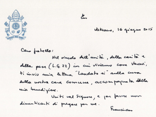 In a handwritten letter accompanying his climate change