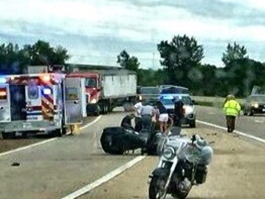Medical teams respond to a motorcycle crash on U.S.