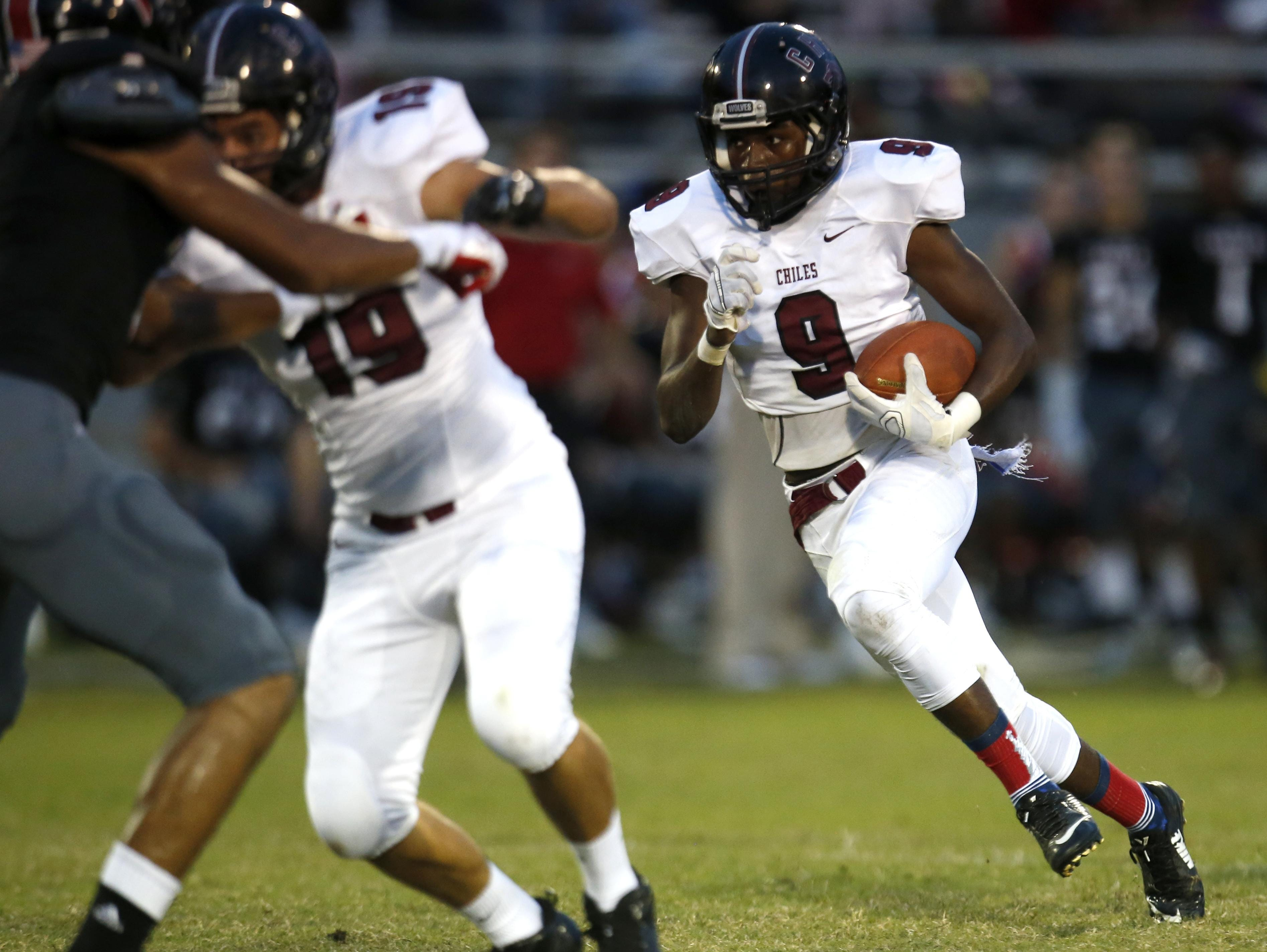 Chiles running back Shane Sanders went for a career best 221 yards rushing and 4 TD in a 38-21 win over Taylor County.