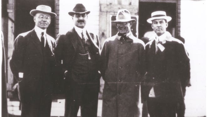 The four founders of the Indianapolis Motor Speedway. From left: Arthur Newby, Frank Wheeler, Carl Fisher and James Allison.