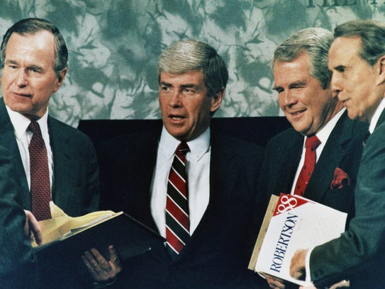 Republican presidential candidates, from left, George
