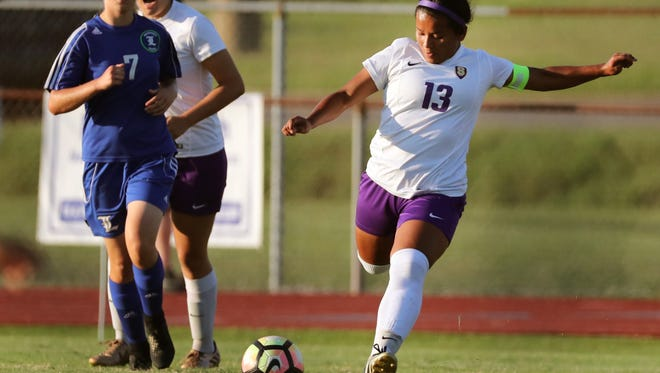 Smyrna's Brenda Cernas drives into a kick during a recent match. Cernas had a goal and an assist in a 5-1 win over Lebanon Tuesday.