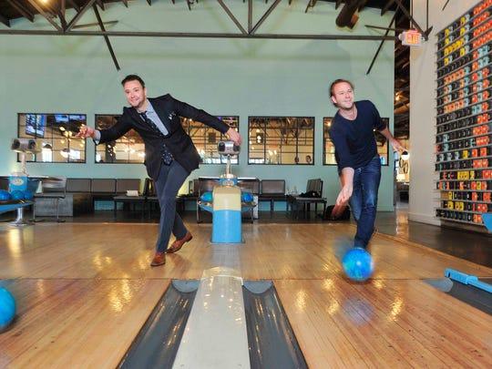 Max and Benjamin Goldberg bowl at Pinewood Social, their rec center/restaurant in Nashville.