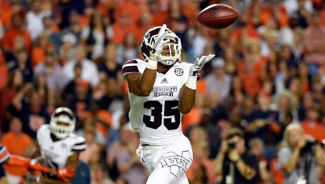 Mississippi State wide receiver Gabe Myles moved from the slot to the outside.