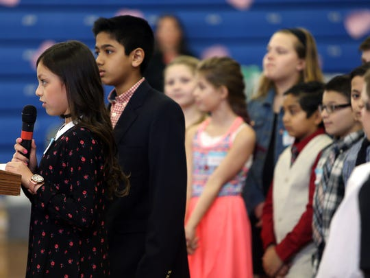 6th grader Camila Gil welcomes seniors as students