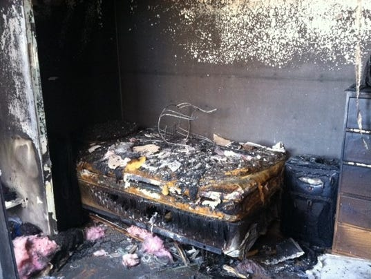 space heater set off a fire and heavily damaged one of the bedrooms