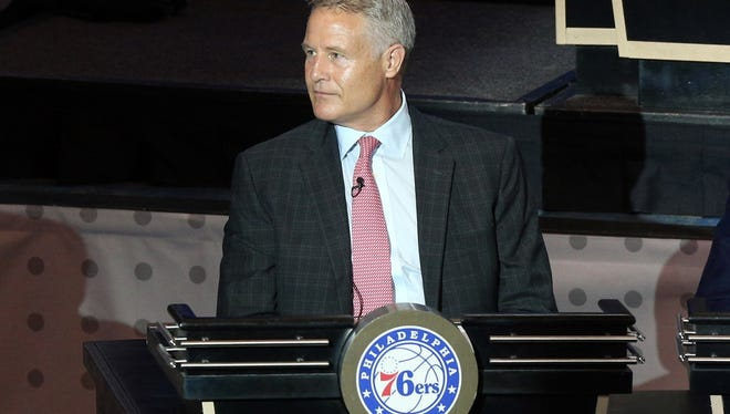 May 17, 2016; New York, NY, USA; Philadelphia 76ers head coach Brett Brown represents his team during the NBA draft lottery at New York Hilton Midtown. The Philadelphia 76ers received the first overall pick in the 2016 draft