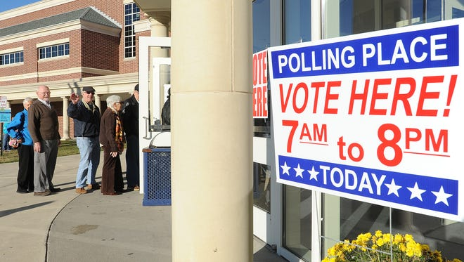 Voters at Cape Henlopen High School polling place near Lewes during 2016 elections.