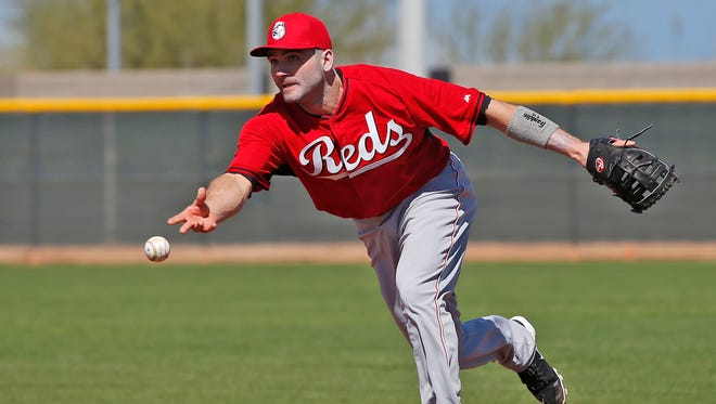 SPRING TRAINING Tue., February 24, 2015 GOODYEAR, ARIZONA Reds first basemen Joey Votto flips the ball to first base during drills at Spring Training, Tuesday, Feb. 24, 2015, in Goodyear, Arizona. The Enquirer/Kareem Elgazzar