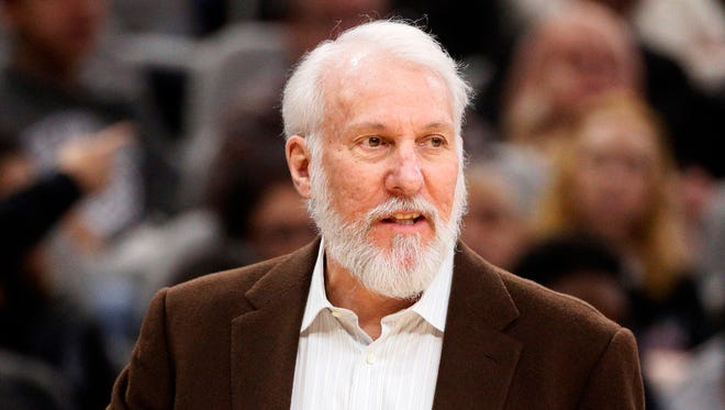 San Antonio Spurs head coach Gregg Popovich reacts during the first half in a game against the Charlotte Hornets on Jan. 7 at AT&T Center. Popovich passed Jerry Sloans for most wins with a single franchise on Saturday.