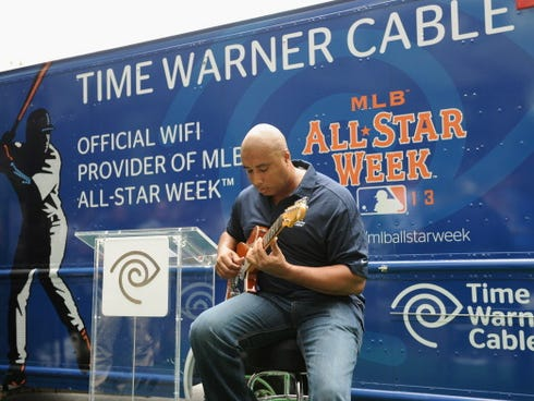 Retired baseball star Bernie Williams attends Time Warner Cable's launch of baseball-themed food trucks and TWC WiFi at the Time Warner Center during MLB All-Star week on July 11, 2013, in New York City.