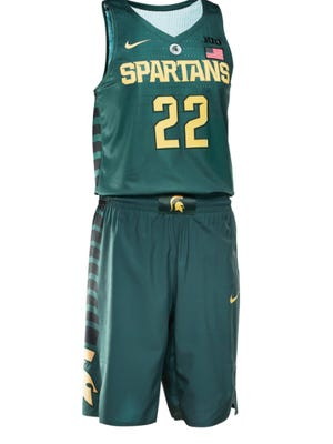 Michigan State's uniform for the tournament is green and bronze.