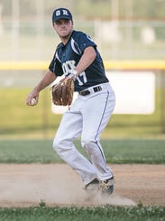 Glen Rock's Connor Hood, throws a ball to first base