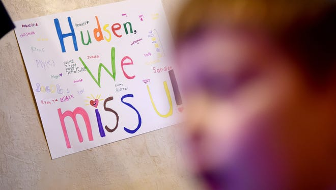 Following his diagnosis of a brain tumor, Hudsen Wolfe's classmates at Lincolnway Elementary School made a poster for the 7-year-old from West York .
