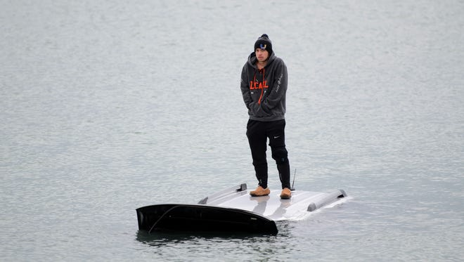 Nolan Mullins experienced a steering problem with his mother's Ford Flex and he ended up in Lake St. Clair off Lake Shore Road between Clairview and Webber in Grosse Pointe Shores on Saturday, Feb. 25, 2017. The U.S. Coast Guard rescued him. A similar incident occurred March 13, 2017, when a car entered the lake in nearly the same spot.
