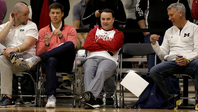 Indiana University men's basketball coach Archie Miller scouts the talent during their Elite Youth Basketball League game Saturday, April 29, 2017, afternoon at the Jonathan Byrd's Fieldhouse at Grand Park in Westfield.