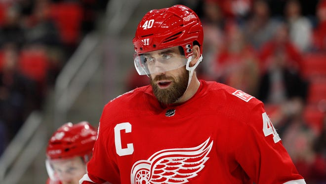 Red Wings center Henrik Zetterberg (40) looks on during the third period of the Wings' 3-1 win over the Hurricanes on Saturday, Feb. 24, 2018, at Little Caesars Arena.