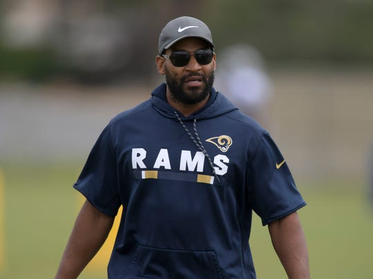 May 21, 2018; Thousand Oaks, CA, USA; Los Angeles Rams cornerbacks coach Aubrey Pleasant during organized team activities at Cal Lutheran University. Mandatory Credit: Kirby Lee-USA TODAY Sports