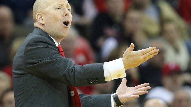 Cincinnati Bearcats head coach Mick Cronin instructs the team in the second half during the NCAA basketball game between the Southern Methodist Mustangs and the Cincinnati Bearcats, Sunday, Jan. 7, 2018, at BB&T Arena in Highland Heights, Kentucky. Cincinnati won 76-56.
