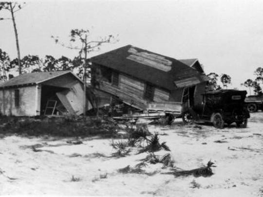 Homes were destroyed in south Florida during the deadly 1928 hurricane.