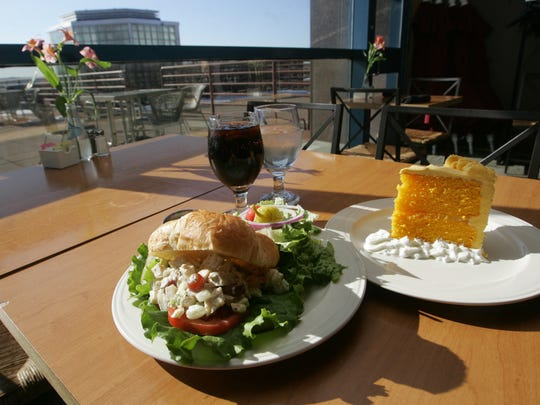 Chicken Waldorf salad and a slice of lemon sunshine cake at Cafe Baratta's, on the third floor of the State Historical Museum.
