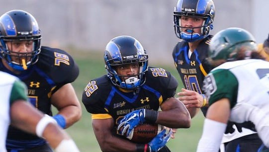 Angelo State University senior running back Josh Stevens (22) ran for 1,020 yards and six touchdowns last season. The Rams open the season at home against McKendree University at 6 p.m. Thursday, Aug. 31, 2017 at  LeGrand Stadium at 1st Community Credit Union Field.