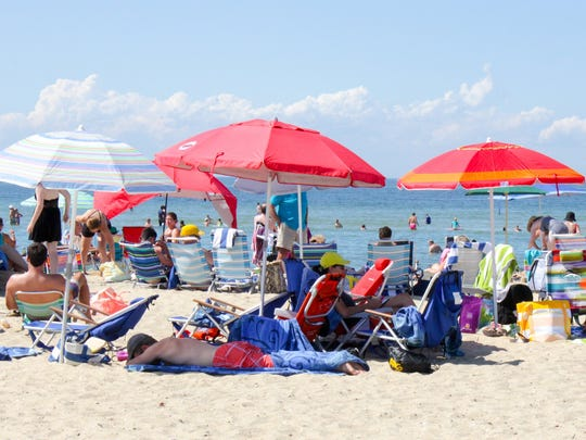 Jetties Beach, Nantucket, on a busy August afternoon.