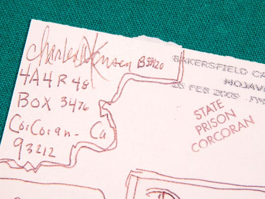 The return address of Charles Manson, in the archives of Bill Bruton, a day after Charles Manson died after a long illness, Indianapolis, Monday 20, 2017. Manson spent 46 years in prison after he ordered several murders in California, including of the actor Sharon Tate.