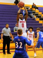 Abilene Cooper's Josh Body shoots over Midland Christian's
