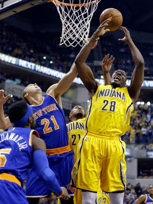 Pacers center Ian Mahinmi sometimes is targeted for fouls because he's not the strongest free throw shooter. He has improved this season. Last March, Knicks player Lou Amundson fouled Mahinmi as he grabbed a rebound.