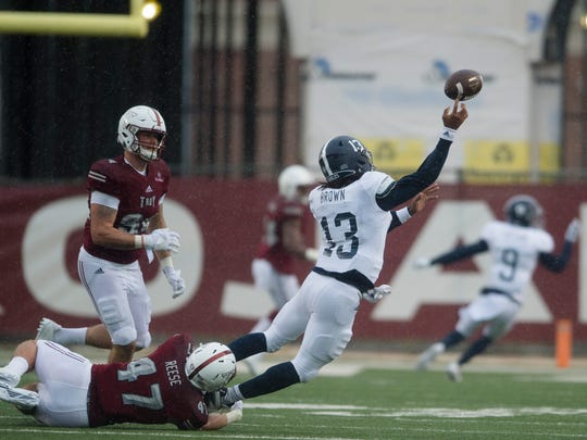 Troy player Hunter Reese (47) hits Georgia Southern