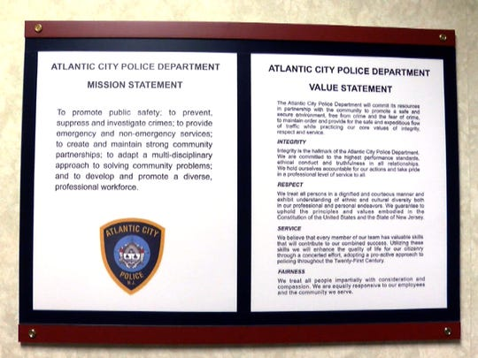 The Atlantic City Police Mission and Value Statements are shown in a conference room at the police headquarters Thursday, March 15, 2018.
