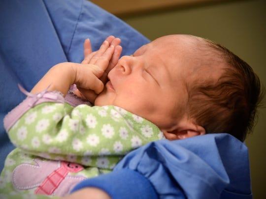 Maternity unit support staffer Joyce Richter holds