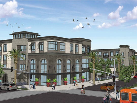 Artist's rendering of a proposed 278-unit apartment complex at the corner of Tapo and Alamo Streets in Simi Valley.