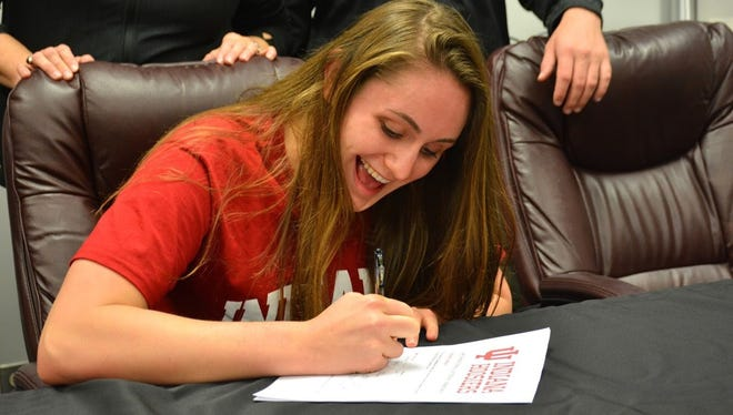 Ashleigh Lechner signed with Indiana University to join the swim program.