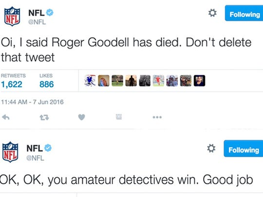 Screenshots of NFL Twitter.