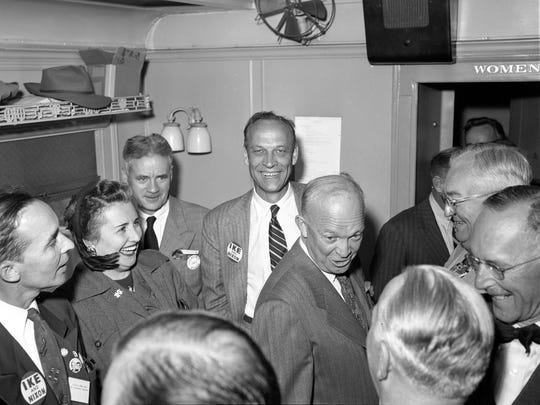 Republican presidential nominee Dwight D. Eisenhower greets supporters on his special campaign train, which took him through Wisconsin on Oct. 3, 1952.
