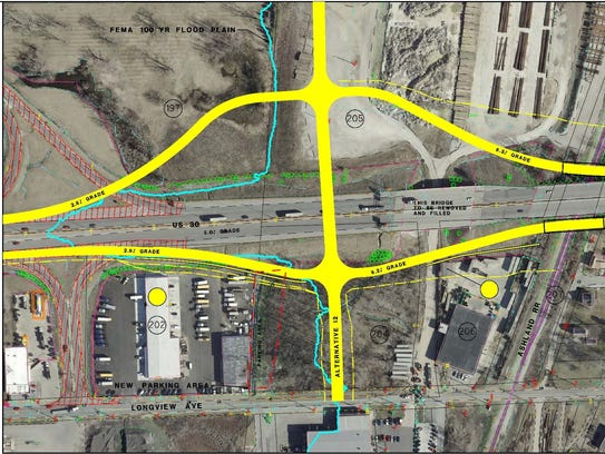Recommended location for a new interchange to be built