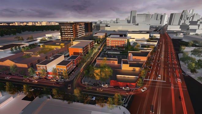 A rendering of the Elton Park residential and retail development planned in Corktown across from the former Tiger Stadium.