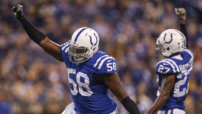 """""""He struggled early,"""" Colts GM Chris Ballard said this spring of Tarell Basham's rookie season. """"But then you started seeing the flashes."""""""