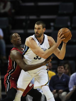 December 11, 2017 - Memphis Grizzlies center Marc Gasol (33) is defended by Miami Heat center/forward Bam Adebayo (13) during the first half of action at FedExForum on Monday.
