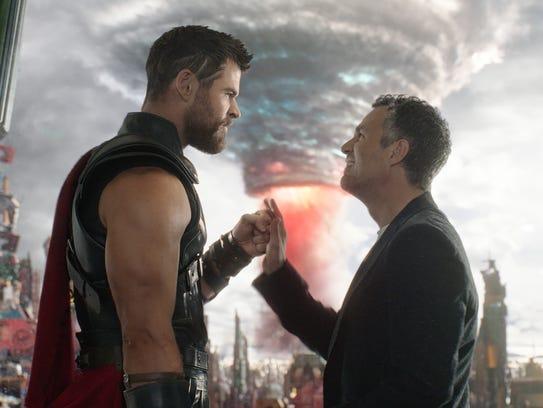 Thor (Chris Hemsworth, left) and Bruce Banner (Mark