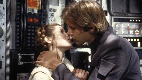 Princess Leia (Carrie Fisher) and Han Solo (Harrison
