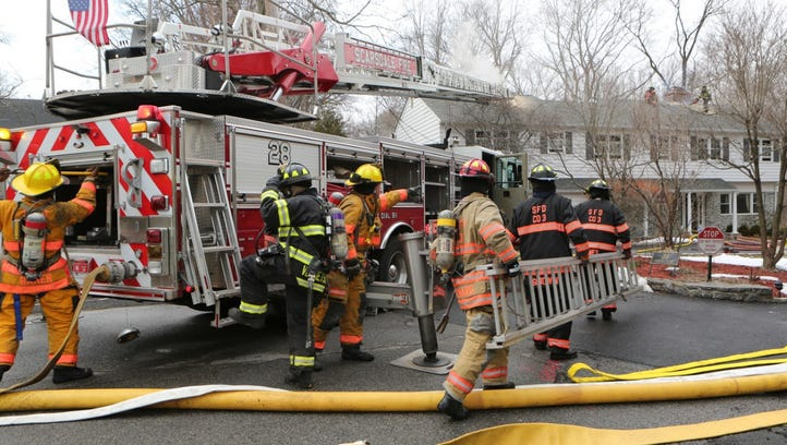 Scarsdale firefighters battled a fire at 34 Stonewall Lane for about 45 minutes before knocking it down.