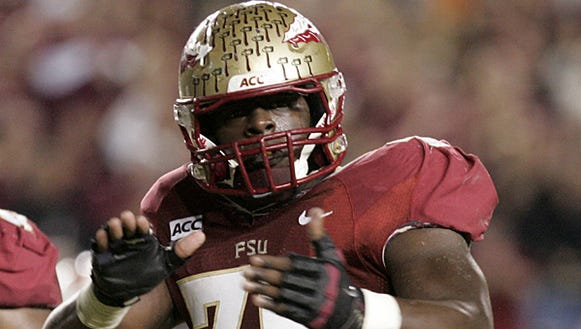 Florida State center Cameron Erving broke out the red