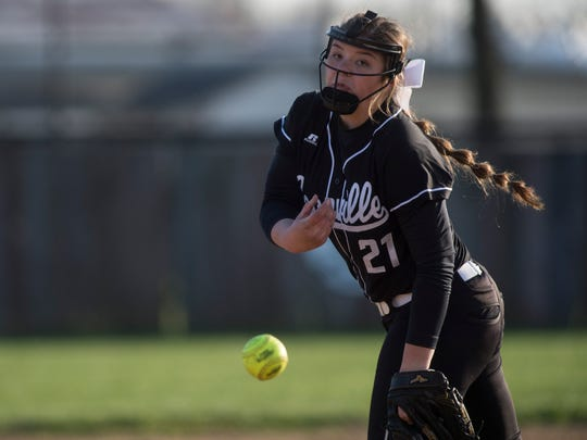 Boonville's pitcher Ariel Thomasson (21) pitches against Tell City at Boonville high school  on Thursday, April 5, 2018.
