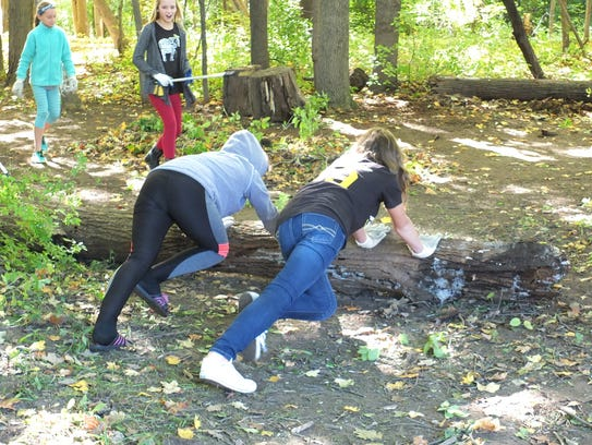 Greendale Middle School sixth-graders help to remove