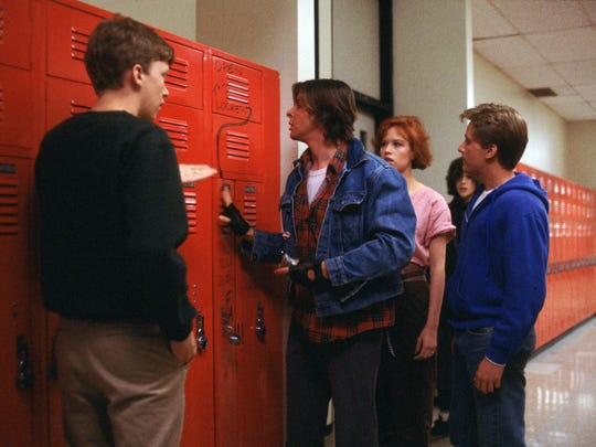 Anthony Michael Hall, left, Judd Nelson, Molly Ringwald,