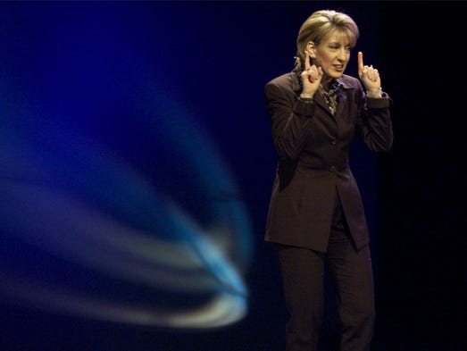 Hewlett-Packard CEO Carly Fiorina delivers the COMDEX