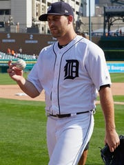 Matt Boyd walks off the field after throwing a one-hitter against the White Sox at Comerica Park on Sunday, Sept. 17, 2017.